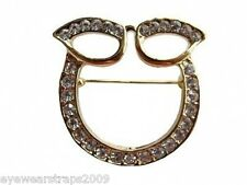 Stunning Gold Plated Rhinestone Crystal Glasses / Sunglasses Holder Brooch Pin