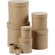 Papier Mache Box Set of 7 - Round Cardboard Boxes with Lid Plain Decorate Gift