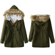 Winter Womens Girls Jacket Parka Coats Hooded Tops Ladies Coat Cotton Outwear XL