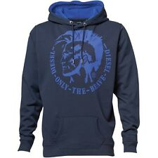 "DIESEL MENS AGNES HOODY - NAVY BLUE/BLUE - ""ONLY THE BRAVE"" LOGO - SMALL – BNWT"