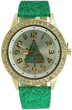 Women's Christmas Watch Green Glitter Band Christmas Tree Dial Crystal Bezel