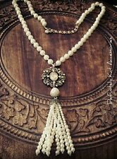 Stunning crystal bling & large pearl vintage statement tassel  sweater necklace