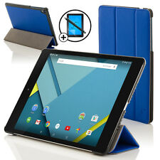 De Cuero Azul Plegable Funda Protectora Para Htc Google Nexus 9 + Screen Prot & Stylus