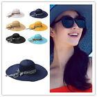 New Women Girl Wide Large Floppy Derby Straw Hat Brim Sun Summer Beach Hat