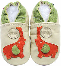 carozoo elephant cream 3-4y soft sole leather toddler shoes