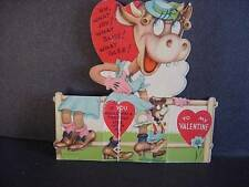 Vintage 2-D VALENTINE w/COW In Dress+Hat THEME-Legs Point Right+Left Folded-1942