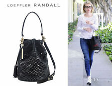 Loeffler Randall Industry Perforated Bucket Black Leather Bag Handbag  NWT