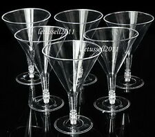 6 CLEAR DISPOSABLE PLASTIC COCKTAIL GLASSES CUPS - MARTINI/WINE -NEW 180ML