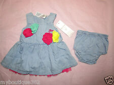 GUESS Baby Girls' Rosette Dress SZ. 6/9 MOS NEW NWT