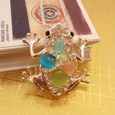 Fashion gold plated frog crystal opal sweater chain, Necklace HH88
