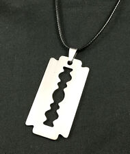 Silver Tone Razor Blade  Stainless Steel Chain Pendant Necklace