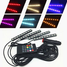 Car Atmosphere Light Lamp Interior Lighting 4x9LED Remote Control Beautiful RGB