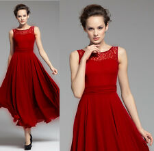 02 Red Women Formal Evening Wedding Cocktail Party long maxi Dress plus Size 20