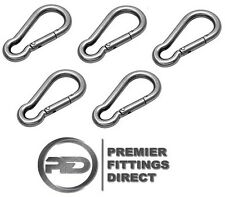 5 PACK SPRING SNAP HOOKS 6MM x  60MM 316 STAINLESS STEEL (BREAKLOAD 900KG)