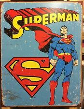 Retro Superman TIN SIGN rustic Poster Vtg Metal Wall Decor Dc Comics