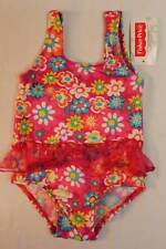 NEW Baby Girls Bathing Suit 18 Mos Pink Floral Swim Wear Tutu Flowers One Piece