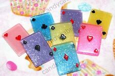 CandyCabsUK 4 x Playing Cards Joke Magic Poker Resin Cabochons DIY MIX Kit