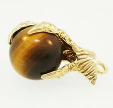 Vintage 9Carat Yellow Gold Eagle Claw & Tiger's Eye Charm (Approx 24mm Length)