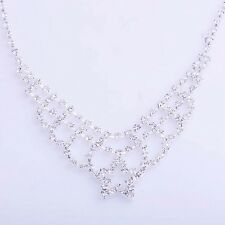 womens Luxury swarovski crystal bib collar necklace silver plated star wedding
