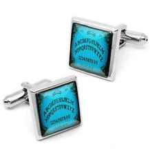 Victorian Ouija Spirit Board Sterling Silver Glass Horror Cufflink Set w/ Box