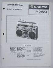 SANYO M-X520 Cassette Boombox Original SERVICE MANUAL Ghetto Blaster MX520