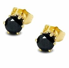 Lovely 6MM Simulated Black Diamond 9ct GOLD FILLED Stud Earrings Womens BE952