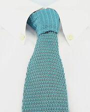Teal Green Knit Mens Necktie Jacob Alexander Fashion Knitted Square End Tie New