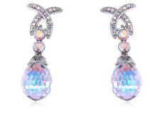 Crystal Elements Aurora Borealis X Prism Circle Accent Earrings