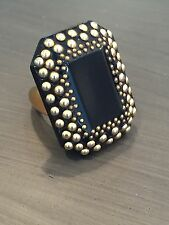 Yves Saint Laurent YSL Black and Gold Studded Cocktail Ring Size 6