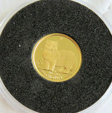 ISLE OF MAN 1989 PERSIAN CAT 24 CARAT GOLD PROOF 1/25th CROWN