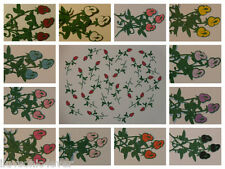 "2 dozen mini stem rose bud die cuts 2"" long"