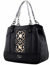 NWT GUESS JINAN 7 POCKET MEDIUM CARRYALL SHOULDER BAG PURSE BLACK VG383623