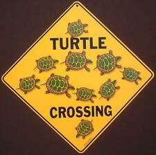 TURTLE  CROSSING Sign aluminum print  decor painting picture home signs tortoise