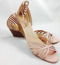 Large size Ladies Wedge Baby Pink Strap Sandals Shoes UK Size 11 PLUS SIZE
