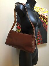 Aldo Satchel purse bag faux leather cognac brown with cute stitch design