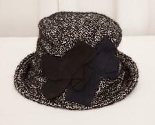 DOLCE & GABBANA Womens Classic Black+White Tweed Double Bow Bucket Hat Size 59