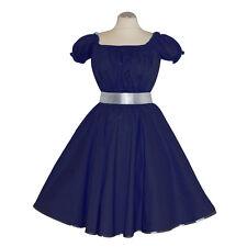 Rockabilly 50er   Kleid Petticoat Pin Up Party Baumwolle S/M 102 Blau
