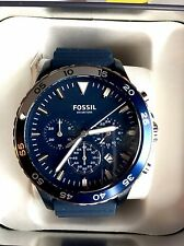 NWT FOSSIL Men's Crewmaster Blue Dial Blue Silicone Watch, CH3054, w/Tin
