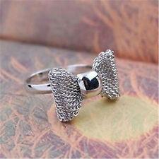 Bonito ajustable plateado malla anillo de arco