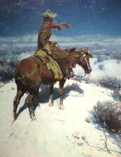 """oil painting handpainted on canvas"""" a Cowboy riding on a horse in the snow""""@3180"""