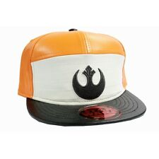 STAR WARS REBEL ALLIANCE SYMBOL ORANGE AND WHITE PU SNAPBACK CAP HAT *NEW*