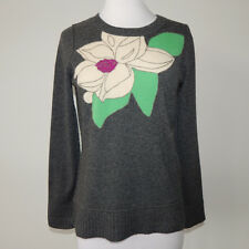 MARGRET O'LEARY Embroidered Stained Glass Flower Pattern Cashmere Sweater - XS