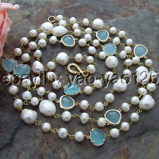 "S122901 44"" 15mm White Baroque Keshi Pearl Blue Crystal Necklace"
