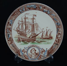 assiette faïence sarreguemines série marine U&C XVIe Henri grâce a dieu Ango