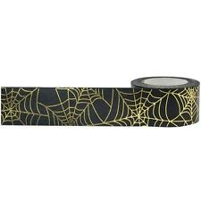 Little B: Spider Web Black and Gold Foil Washi Tape, 25mm - for Halloween ETC!
