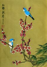 """Chinese painting on silk plum blossom birds flowers 15x11"""" hand painted ink art"""
