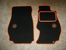 Nissan 350Z (2002-2009) Car Mats in Black/Orange trim + Z/350Z Logos + Fixings