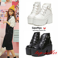 Womens Gothic Punk Buckle Strap High Platform Block Heel Ankle Boots Shoes Size