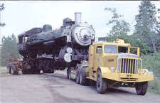 Union Pacific 4-6-2 steam locomotive on a tow truck??? train railroad postcard