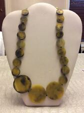 Gorgeous beaded designer graduated green resin necklace